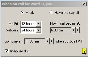 Enter typical call hours